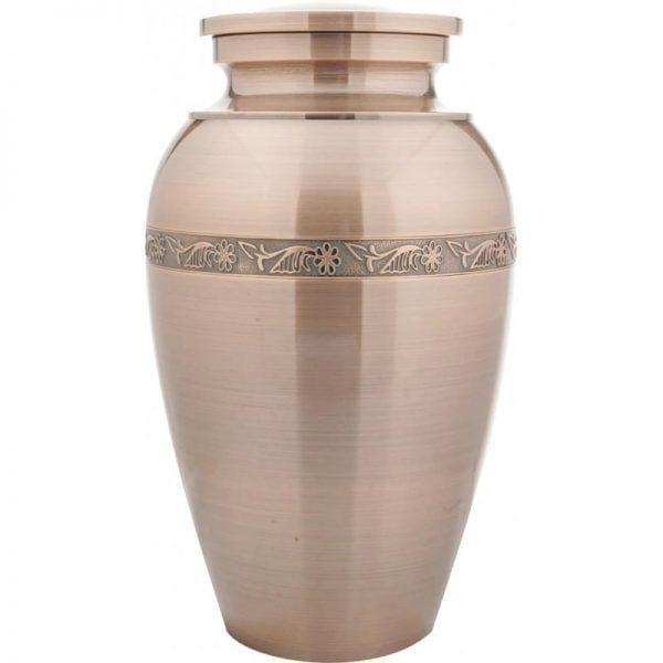 urne funéraire en laiton Élégance cuivre avec motifs décoratifs gravés