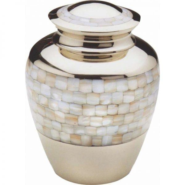 urne funéraire en laiton Perle nacrée avec couvercle doré pour accueillir cendres d'un défunt