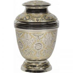 urne funéraire en laiton or et argent avec motifs décoratifs élégants gravés et dorés