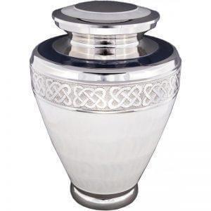 urne funéraire en laiton Milano blanche avec motifs ornementaux et reflets argentés