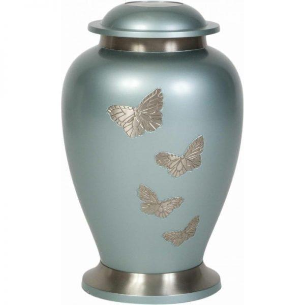 urne funéraire en laiton Papillon avec socle et ornements argentés pour recueillement cendres
