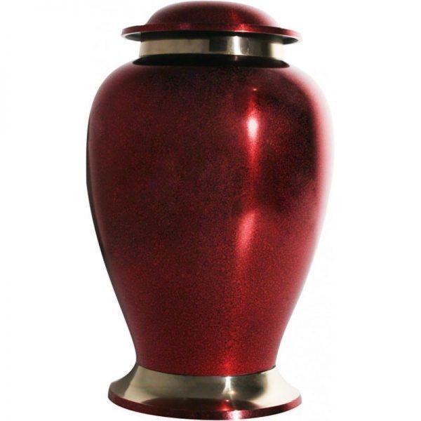 urne funéraire en laiton Élite rouge avec bandeau et socle dorés