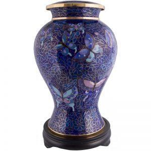 Urne funéraire Papillon bleu en cuivre cloisonné pour recueillement cendres