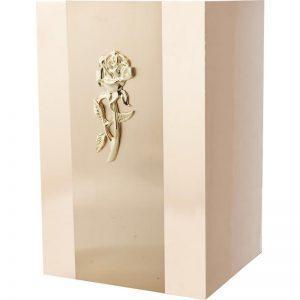 urne funéraire en métal cuivre deux tons avec rose dorée ornementale