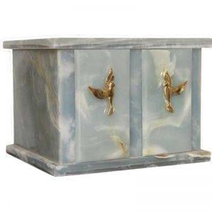 urne funéraire double en marbre Onyx bleu pour recueillir les cendres de deux personnes simultanément