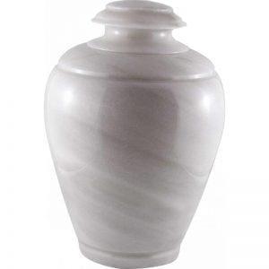 urne funéraire en marbre blanc sous forme de vase pour hommage et recueillement des cendres du défunt
