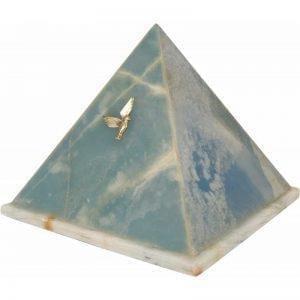 urne funéraire Pyramide en marbre onyx bleu avec ornements dorés offerts en option pour un hommage encore plus personnalisé