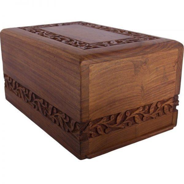 urne funéraire en bois de rose avec bordures sculptés et urne funéraire à prix abordable
