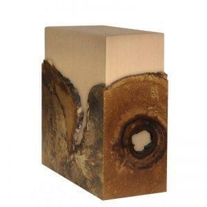 Urne funéraire en bronze avec placage en bois de loupe naturel