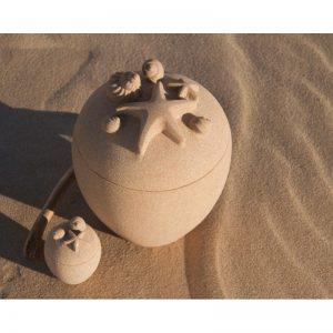 Urne funéraire en sable océanique des iles-de-la-madeleine sable océan