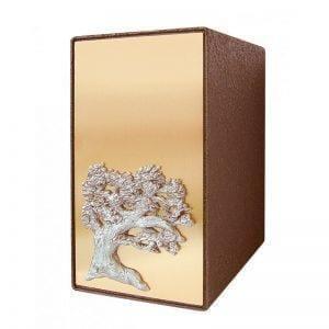 urne funéraire en zinc avec façade bronze et ornement d'arbre offert en option par le Salon Funéraire Demers