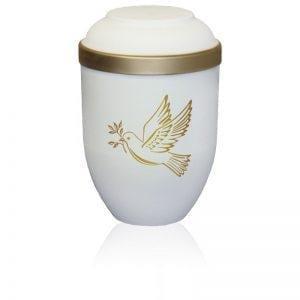 urne funéraire biodégradable L'oiseau avec colombe et bordure dorée