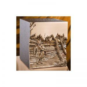 urne funéraire double en zinc et bronze Chant des vagues avec gravure pour honorer conjointement la mémoire de deux personnes